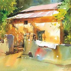 Page 3 « landscapes – Milind Mulick, Page 3 - landscapes - - Travel Journal - Watercolour - Art - House - India Watercolor Landscape Paintings, Watercolour Painting, Landscape Art, Watercolors, Easy Watercolor, Watercolor Sketch, Gravure Photo, Art Aquarelle, Barn Art