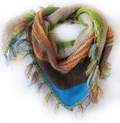 COZY SHAWL / Multicolored knit scarfshawl by SEVILSBAZAAR on Etsy