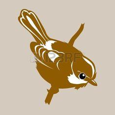 bird silhouette on brown background, vector illustration photo
