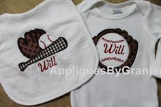 Appliqued Bib and Bodysuit with Baseball and Glove by AppliquesByGranjan on Etsy