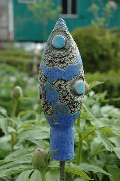 Gartendekoration - Beetstecker-Muster-blau - ein Designerstück von Kunst-und-Keramik bei DaWanda