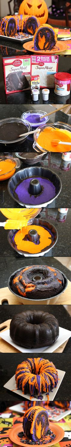 Orange & Purple & Black Pumpkin Cake