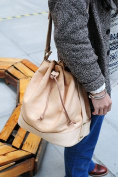 Hand Stitched Natural Color (Beige) Leather Carry On Bag