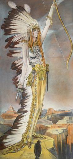 Alberto Martini . La marchesa Casati come arciere selvaggio (Grand Canyon), 1927 - Pastello su carta, 300 x 140 cm Collezione privata Audouy