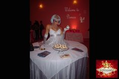 Crystal style strolling table diva by J & D Entertainment Houston, Wedding Entertainment, Houston human table, living table (www.jdentertain.com)