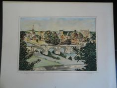 Vintage original watercolour painting of Kelso Bridge, Kelso , Scottish Borders  Entitled 'Kelso Bridge from Maxwell Heugh' Colourful stylised painting dating from 1958 Artist: W Pattison Artist Signed & dated to lower right hand corner together with artist's pencil signature to the matt  Matted but unframed