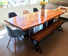 Dining set Urban Hardwoods dining table 4 Eames side chairs 1 Eames arm chair 1 Reclaimed bench Howell Furniture, Dining Set, Dining Table, Eames, Side Chairs, Hardwood, Armchair, Bench, Urban
