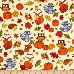 Timeless Treasures Pumpkin Patch Flannel Pumpkins & Critters Cream from @fabricdotcom  Designed for Timeless Treasures, this cotton print single napped (brushed on one sides) flannel is perfect for quilting, apparel and home decor accents. Colors include black, peach, cream, white, shades of grey, shades of brown, shades of red, shades of orange, and shades of green.