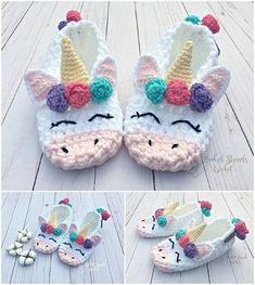 Everyone loves these Crochet Unicorn Slippers Crochet Girls, Cute Crochet, Crochet For Kids, Crochet Crafts, Crochet Projects, Crochet Baby Booties, Crochet Slippers, Crochet Unicorn Hat, Felted Slippers