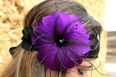 Bright Purple Feather Plume with Black Bead Center on by RuralHaze, $12.99