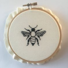 Bee Embroidery Hoop/ Embroidery Art by ThreadsInstead on Etsy