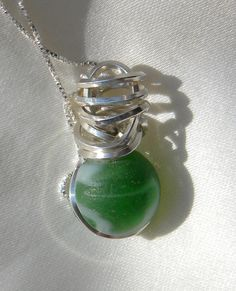 Wire Wrapped Sea Glass Marble Necklace Frosty by OceanEdgeDesigns, $100.00
