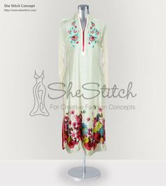 SS3305 Malai Fabric This is fawn colored floral designed malai lawn shirt full of life with beautiful color with the decent fawn color as a ground.