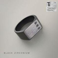 Men's black Zirconium ring with black diamonds. Black Diamonds, Titanium Rings, Signet Ring, Black Men, Wedding Bands, Rings For Men, Jewelry, Men Rings, Jewlery