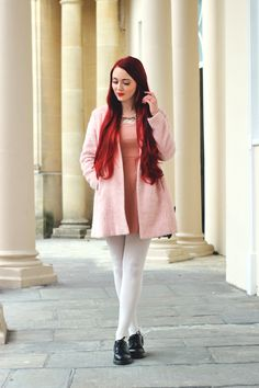 Pink dress and coat, white tights