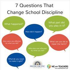 7 Questions That Change School Discipline: Restorative Justice  #restorativejustice #transformativejustice