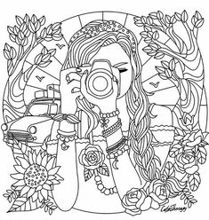 hard winter coloring pages | Winter Girl And Gifts Winter Snowflakes. Adult Coloring ...