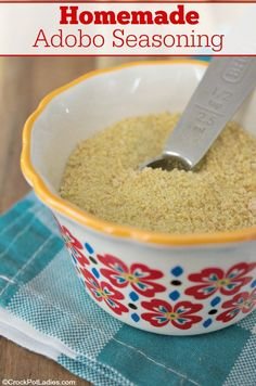 Make your own Homemade Adobo Seasoning Mix with this easy recipe. A great seasoning mix that is perfect in meatloaf or sprinkled over chicken, beef or pork. Adobo Seasoning, Seasoning Mixes, Chicken Seasoning, Ww Recipes, Low Carb Recipes, Cooking Recipes, Syrup Recipes, Mexican Recipes, Free Recipes