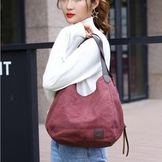 Women's Canvas Handbags Vintage High Quality Female Hobos Single Shoulder Bags Quilted Handbags, Canvas Handbags, Handbags Online, Purses And Handbags, Canvas Shoulder Bag, Leather Shoulder Bag, Best Gift For Girlfriend, Purple Bags, Shoulder Handbags