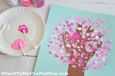Q-Tip Painted Handprint Cherry Blossom Tree - Kid Craft - Glued To My Crafts Spring Art Projects, Spring Crafts, Projects For Kids, Crafts For Kids, Q Tip Painting, Painting For Kids, Art For Kids, Art Children, Cherry Blossom Art