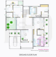 Kerala home design and floor plans: All in one : House elevation, floor plan and interiors Free House Plans, House Plans And More, Small House Plans, Duplex House Design, Duplex House Plans, House Floor Plans, Bungalow Floor Plans, Mansion Plans, Pool House Designs