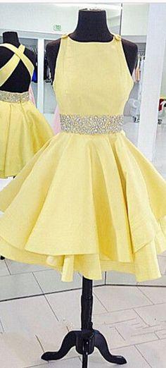 Homecoming Dress,Yellow Homecoming