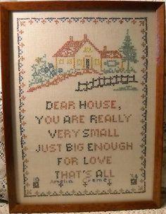 "Antique Handcrafted Framed Cross Stitch Sampler ""Dear House"" Dated 1934 Cremer | eBay"