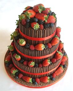 summer berries and chocolate cigarillos wedding cake by sugarlicious ltd