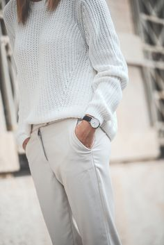 all white outfit, formal pants, oversized sweater, blogger outfit, daniel wellington wrist watch
