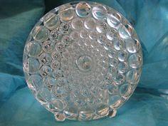 1960s Op Art Vase – Clear Glass – Vintage Mid Century Design – inspired by Still + Toikka – Beyer Germany – Geometric Discus Shape von everglaze auf Etsy
