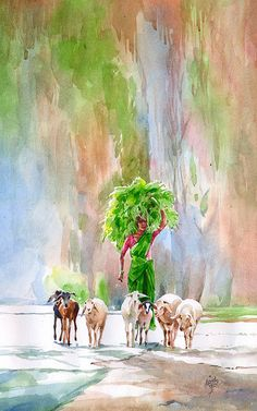 Amazing Watercolor Paintings by Indian Artist Abdul Salim Art And Illustration, Illustrations, Art Village, Indian Drawing, Indian Art Paintings, India Art, Pastel, Guache, Indian Artist