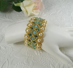 Woven Bracelet in Green Opal Crystal with Pearls by IndulgedGirl