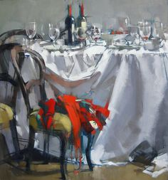 """MAGGIE SINER - """"Table with Reds"""" 2013 26 x 28 Oil on Linen"""