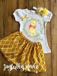 Personalized Winnie the Pooh Skirt Set by joyfullymadeboutique