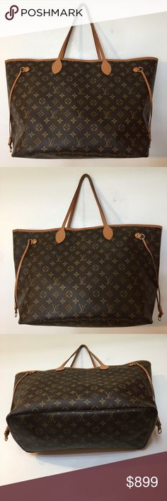 Louis Vuitton Monogram Neverfull GM Tote Bag Purse 100% Authentic Louis Vuitton Monogram Neverfull Monogram GM Tote Bag Purse SD0112 Length: 15.7 In. (measured at bottom) 22 In. (measured at longest part) Depth: 8 In. Height: 13 In. (measured up the side of the bag on tallest part) GM Retails $1,340 in the LV store See last photo for a detailed description of the condition Overall bag is beautiful with lots of wear left! Seams/hardware all in great shape too! No pouch, I kept it for personal…