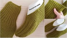 2 ŞİŞ İLE DİKİŞSİZ PATİK NASIL YAPILIR? DETAYLARI | Nazarca.com Knitted Slippers, Knitted Gloves, Fingerless Gloves, Knitting Designs, Knitting Patterns, Make An Effort, Diy Crafts To Sell, Craft Gifts, Leg Warmers