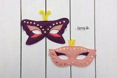 Detské škrabošky / Felt masks - free pattern