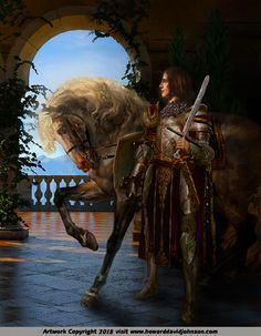 King Arthur & the Knights of the Round Table; Paintings of the Arthurian legends by Howard David Johnson Fantasy Queen, Fantasy Armor, Dark Fantasy, King Arthur Legend, Legend Of King, Medieval Knight, Medieval Art, Joseph Of Arimathea, Sword In The Stone