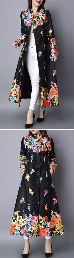 Vintage Printed Stand Collar Long Thin Coat