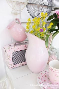 Love this pretty pale pink rose pattern in the kitchen