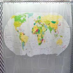 """Dopobo Duschvorhang Wannenvorhang Weltkarte """"The World"""" Maße 180x180cm mit 12 Haken: Amazon.de: Küche & Haushalt"""