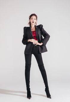 Black jacket & jeans outfit #koreanmodel #koreanbeauty #koreanfashion #model #beauty #fashion Jean Jacket Outfits, Jacket Jeans, Thigh High Boots Heels, Jung Yoon, Korean Model, Model Pictures, Korean Beauty, Thigh Highs, Fashion Boots