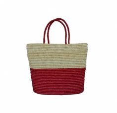 Straw Tote by Prymal Bicolor Crocheted Toquilla Straw  Natural / Red