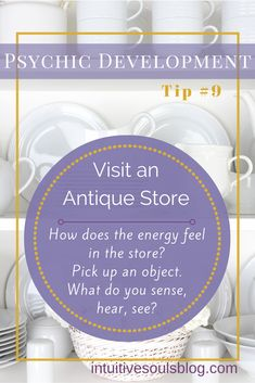 Ready to take an intuitive field trip? Loaded with goodies, an antique store can be a fun place to practice developing your psychic and mediumship abilities. If you visit more than one antique store, you'll Psychic Powers, Psychic Abilities, Love Psychic, Online Psychic, Psychic Development, Personal Development, Psychic Readings, Psychic Games, Psychic Mediums
