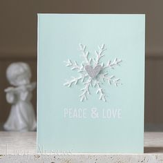 CAS snowflake card - white on baby blue card - bjl (could even use a red heart!)