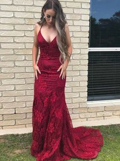 Buy Elegant Straps V Neck Burgundy Lace Mermaid Long Evening Dresses, Prom Dresses online.Shop short long ombre prom, homecoming, bridesmaid evening dresses at Couture Candy Cocktail party dresses, formal ball gowns in ombre colors. Cheap Sweet 16 Dresses, Cheap Prom Dresses, Sexy Dresses, Party Dresses, Formal Dresses, Long Dresses, Occasion Dresses, Elegant Dresses, Homecoming Dresses
