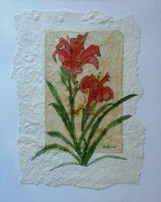 "Tea Bag Treasure's Suzanne LeLoup-West ""Day Lillies"" suzanne@suzannes-art-studio.com"