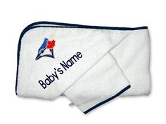 Our officially licensed Personalized Toronto Blue Jays Hooded Towel Set is the perfect accessory set for bath time for MLB babies, infants and toddlers.