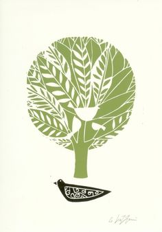 Green Tree Linocut Signed Original Black by TheBluebirdGallery, £18.00