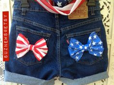 USA FLAG Bows High Waisted Stars and Stripes Patriotic by suznews, $35.00 -- Fourth of July outfit!